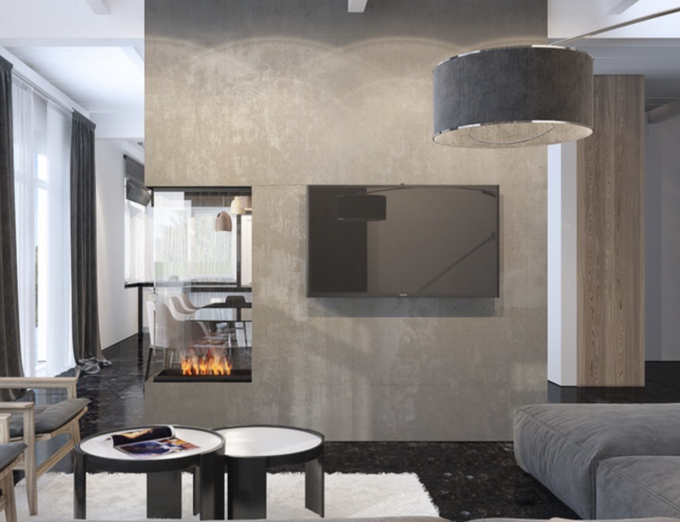 Contemporary 3 Sided Electric Fireplace From Urban Fireplaces